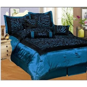 7pc Blue / Black Zebra Faux Silk Flock Printing Comforter Set Bedding